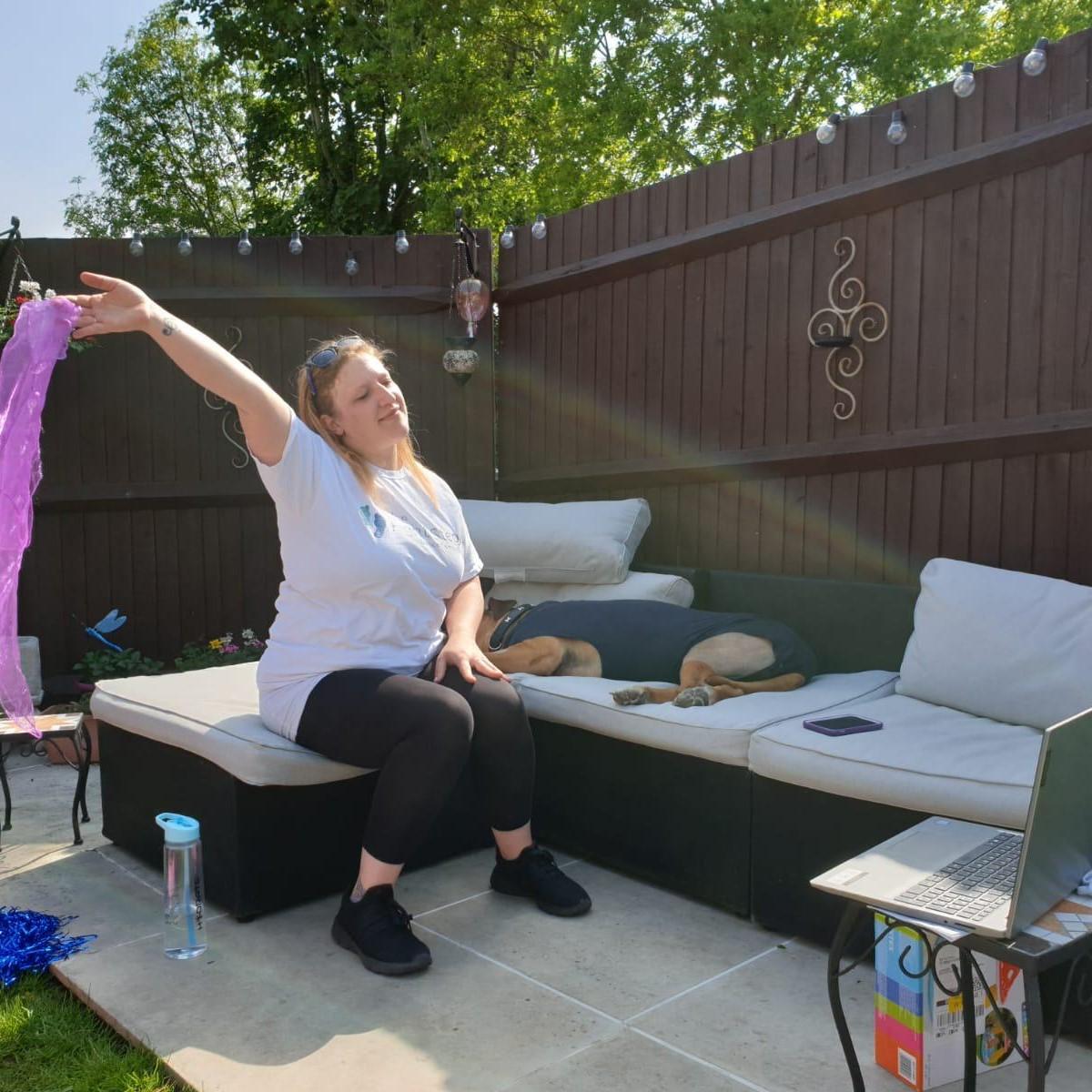 SQ Georgie remote dance lesson garden sun Active Armchairs